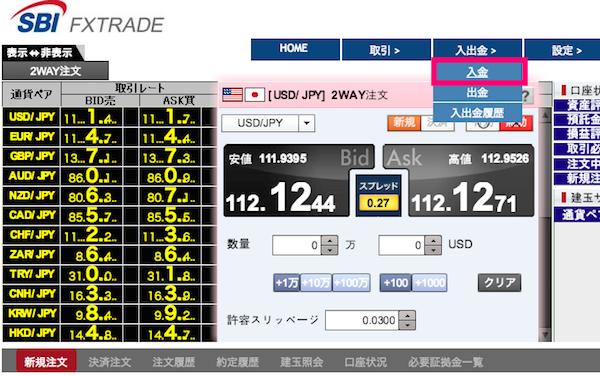 SBI FX 入金